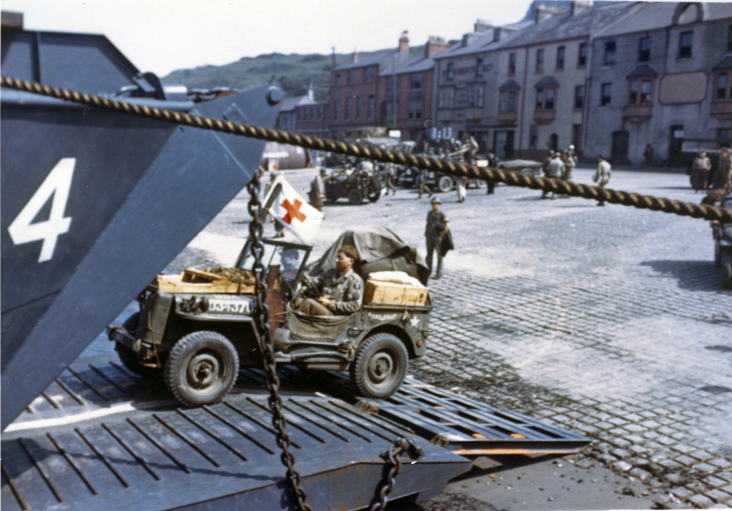 Photograph of Jeeps Being Driven into the Open Doors of a LCT in Preparation for the Normandy Invasion