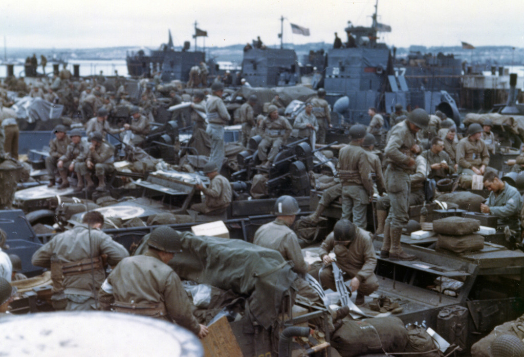 Photograph of Men and Equipment in Landing Craft Preparing for Normandy Invasion
