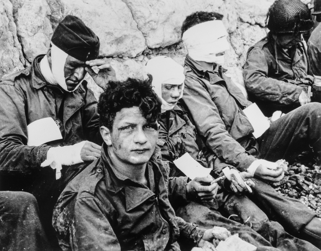 American Assault Troops of the 16th Infantry Regiment, Injured While Storming Omaha Beach, Wait by the Chalk Cliffs for Evacuation to a Field Hospital for Further Medical Treatment, Collville-sur-Mer, Normandy, France