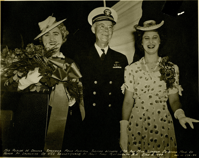Mrs. Roscoe W. Downs, Rear Admiral Thomas Withers, and Miss Eleanor Dzieman at the Launch of the USS Sennet