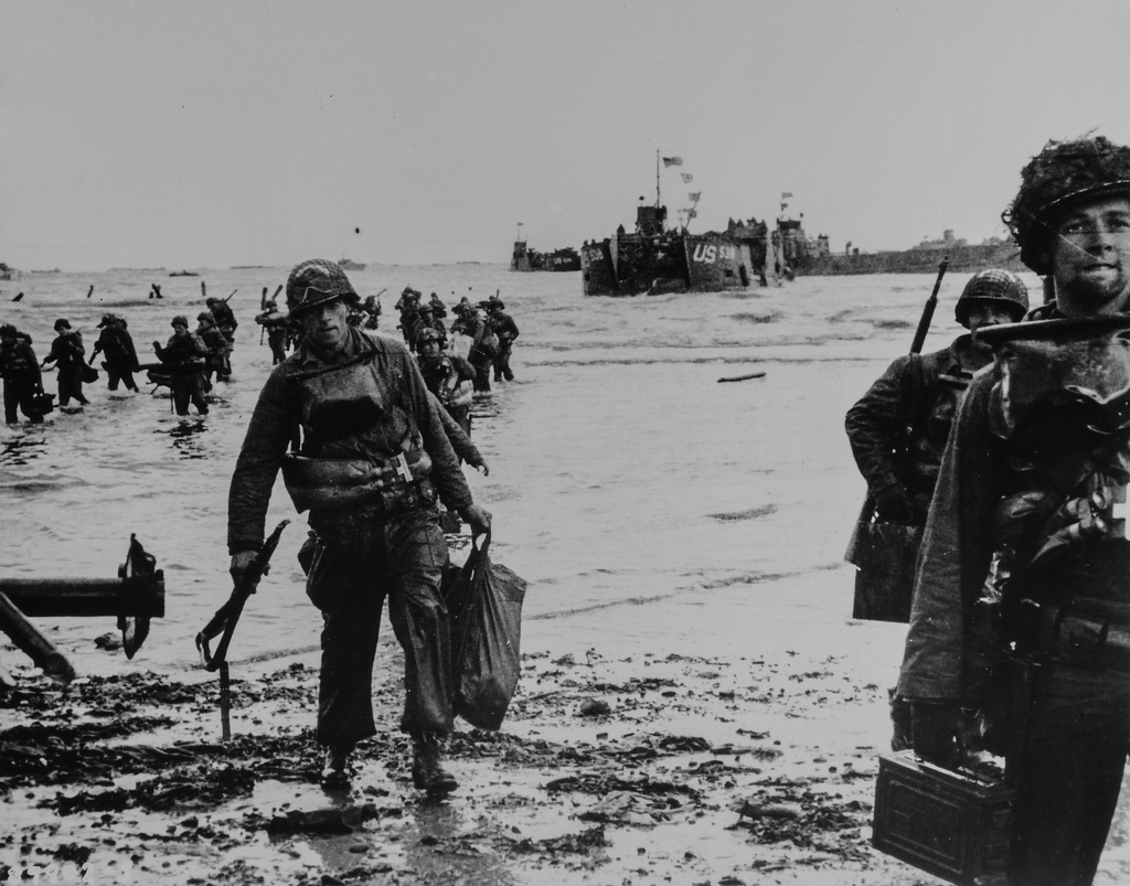 Photograph of American Assault Troops Moving onto a Beachhead on the Northern Coast of France