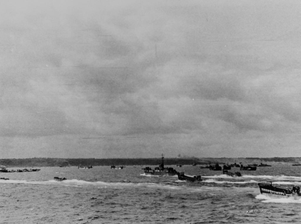 Photograph of Landing Craft Approaching Omaha Beach