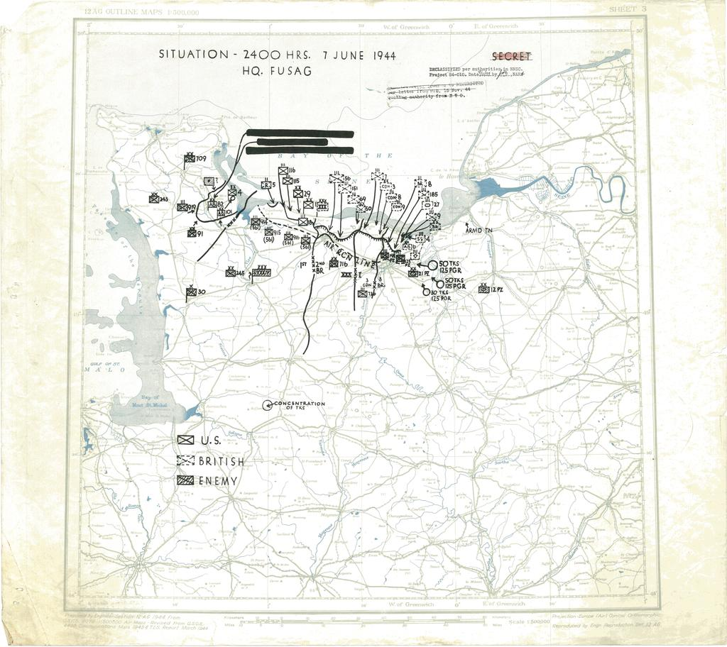 Situation Map for 2400 Hrs 7 June 1944