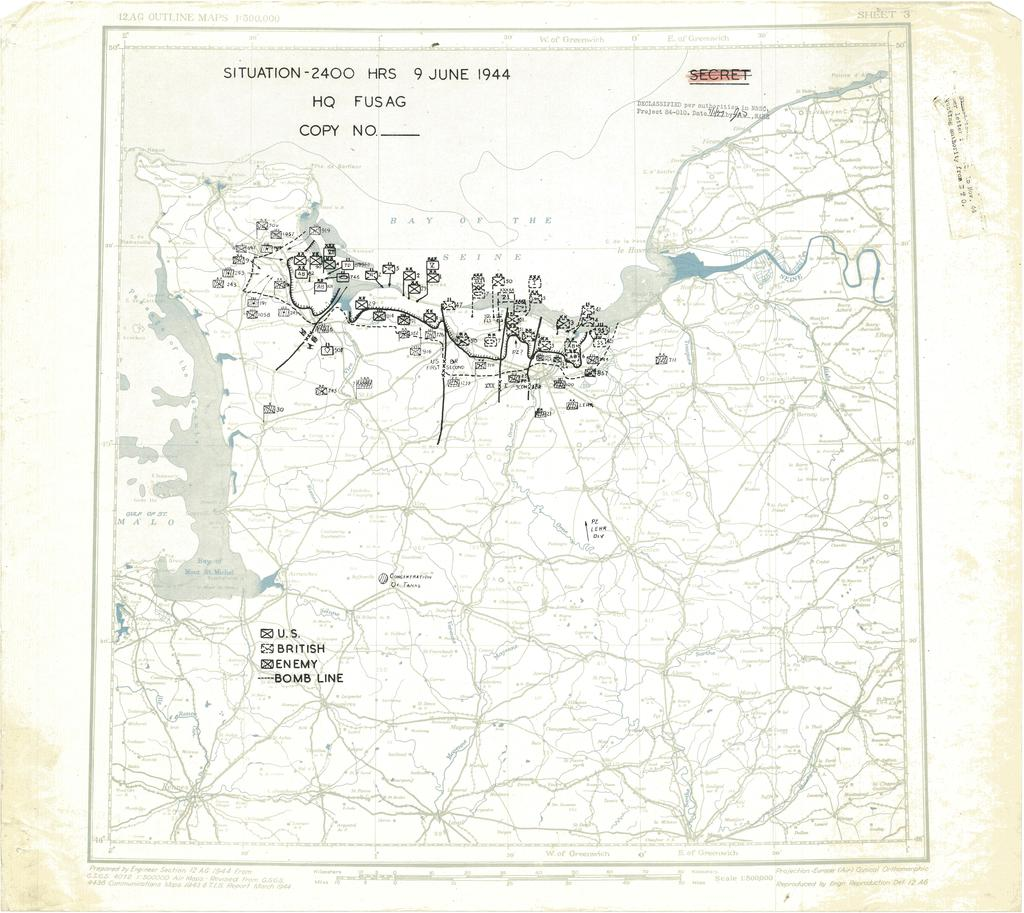 Situation Map for 2400 Hrs 9 June 1944