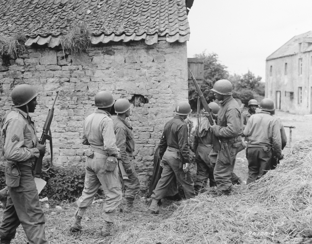A Platoon of Negro Troops Surrounds a Farm House in a Town in France, as They Prepare to Eliminate a German Sniper Holding up an Advance, Omaha Beachhead, near Vierville-sur-Mer, France