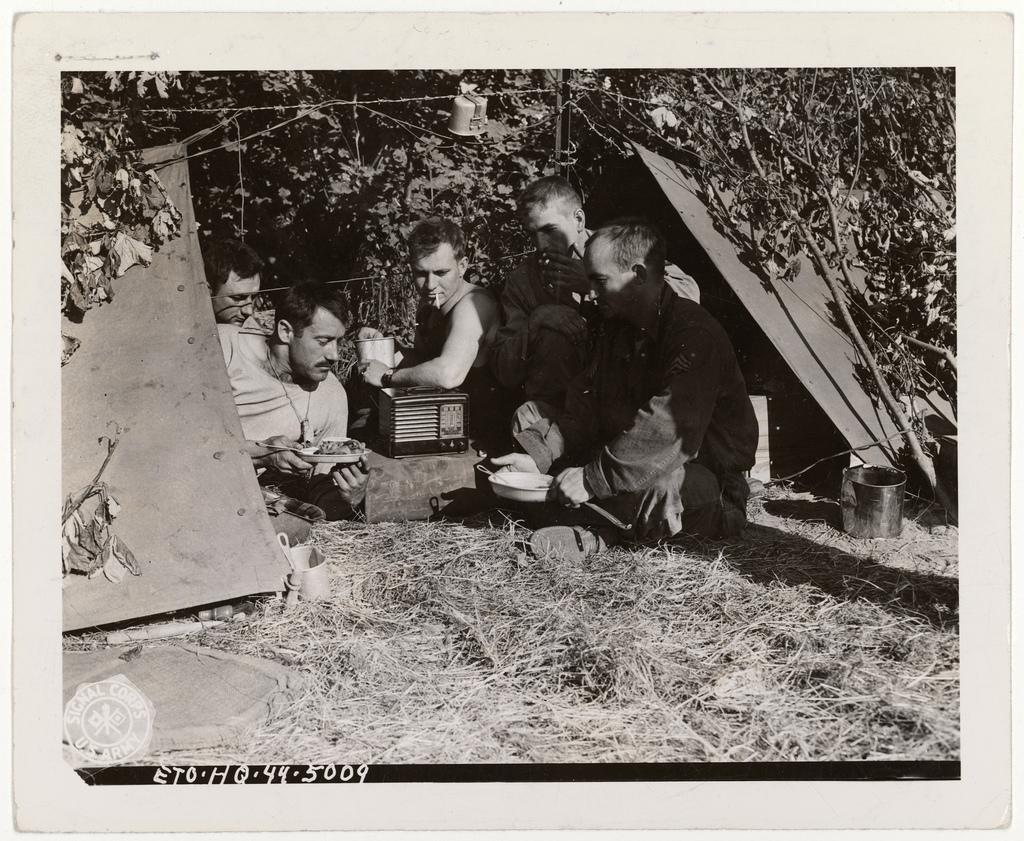 Five Soldiers of the 413th AAA Gun Battalion Near Omaha Beach