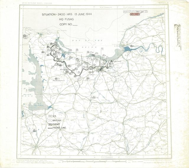 Situation Map for 2400 Hrs 13 June 1944