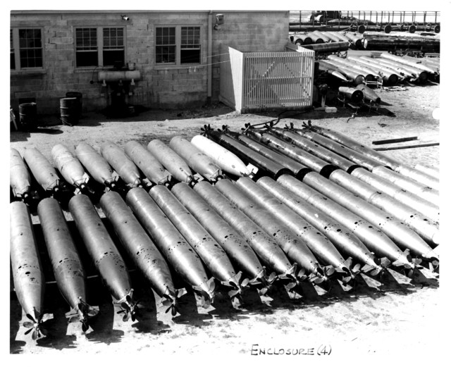 View of a Torpedo Shack and Rows of Torpedoes at the Naval Air Station at Squantum, Massachusetts