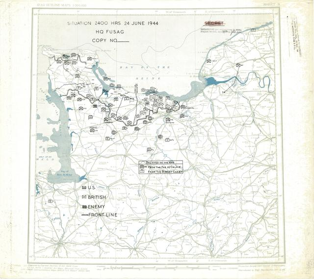 Situation Map for 2400 Hrs 24 June 1944