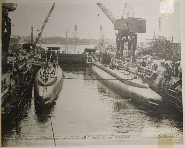 Twin Launching of USS Threadfin (SS 410) and USS Piper (SS 409) at Navy Yard, Portsmouth, NH
