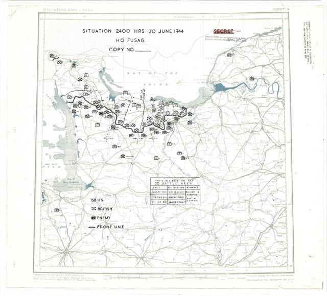 Situation Map for 2400 Hrs 30 June 1944