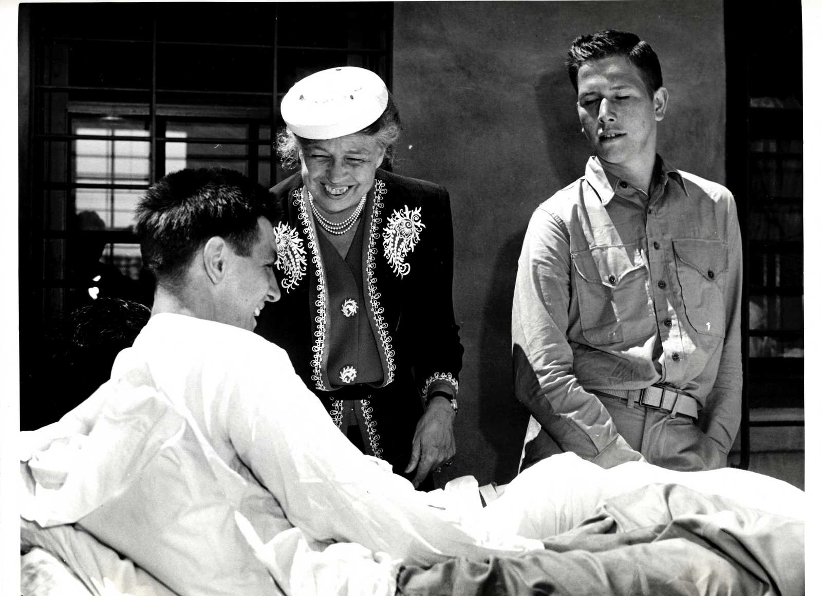 Eleanor Roosevelt Chatting with Injured Naval Man