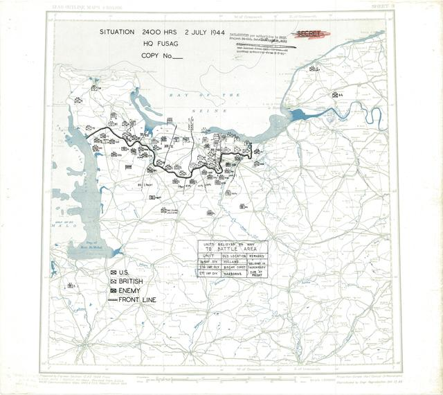 Situation Map for 2400 Hrs 2 July 1944