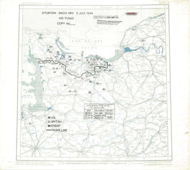 Situation Map for 2400 Hrs 5 July 1944