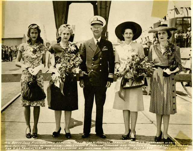 Miss Betty Jane Fischler, Mrs. Peter K. Fischler, Rear Admiral Withers, Mrs. Lyndon B. Johnson, and Mrs. Tom C. Clark at the Launch of the USS Tench