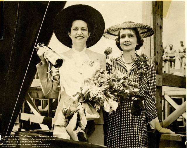 Mrs. Lyndon B. Johnson and Mrs. Tom C. Clark at the Submarine Launch