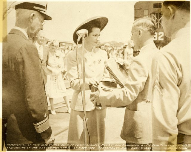Mrs. Lyndon B. Johnson Presented with Gift at Launching of USS Tench