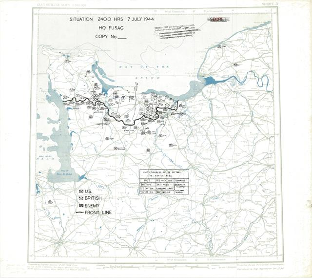 Situation Map for 2400 Hrs 7 July 1944