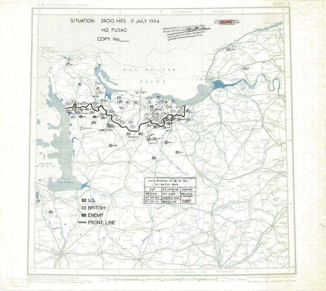 Situation Map for 2400 Hrs 8 July 1944