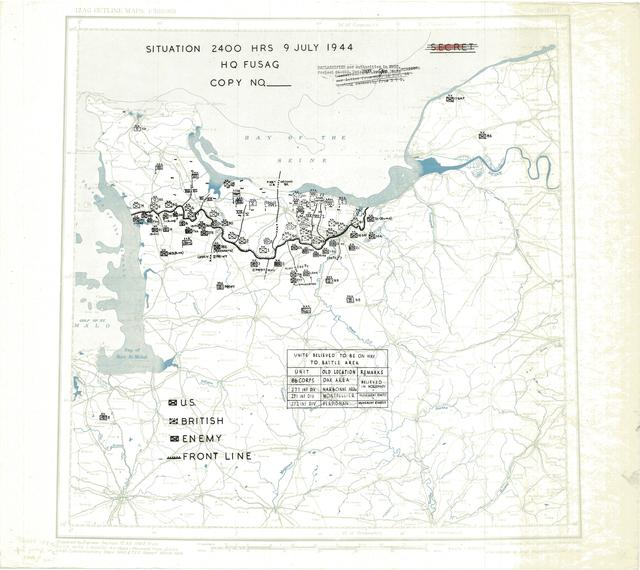 Situation Map for 2400 Hrs 9 July 1944