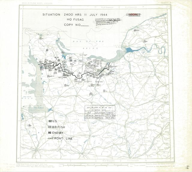 Situation Map for 2400 Hrs 11 July 1944