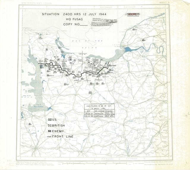 Situation Map for 2400 Hrs 12 July 1944