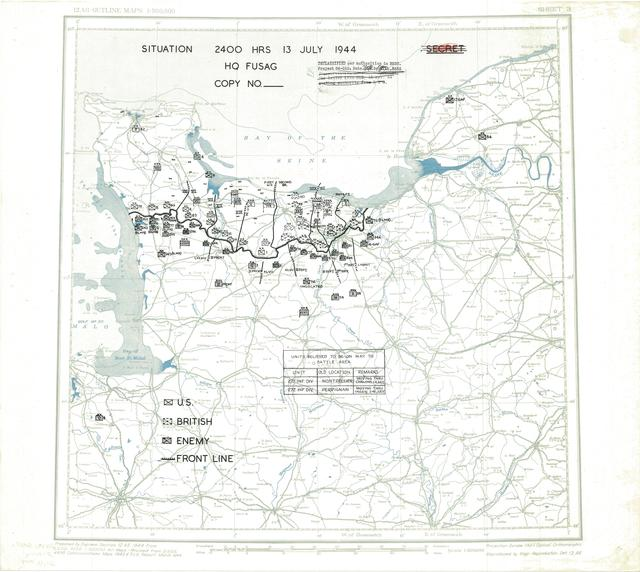 Situation Map for 2400 Hrs 13 July 1944