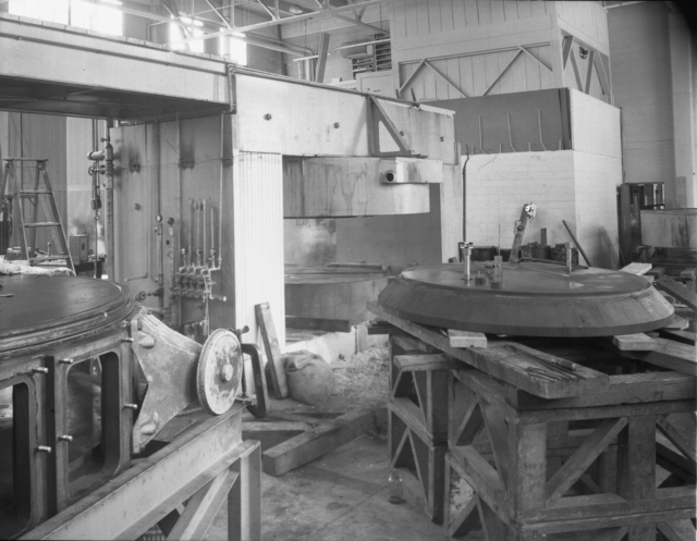 "Crocker Laboratory 60-inch cyclotron, magnet coils. Magnet and pole face, start of knockdown for remodeling. Photo taken 7/18/1944. Declassified 1954. 60""-17 Principal Investigator/Project: Crocker Lab/60-inch"