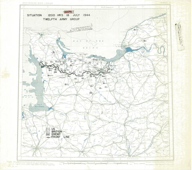 Situation Map for 2400 Hrs 18 July 1944