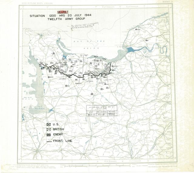 Situation Map for 2400 Hrs 20 July 1944