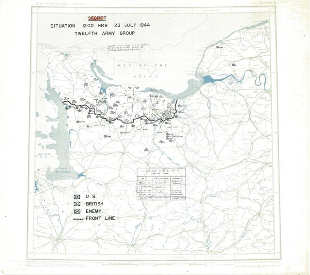 Situation Map for 2400 Hrs 23 July 1944
