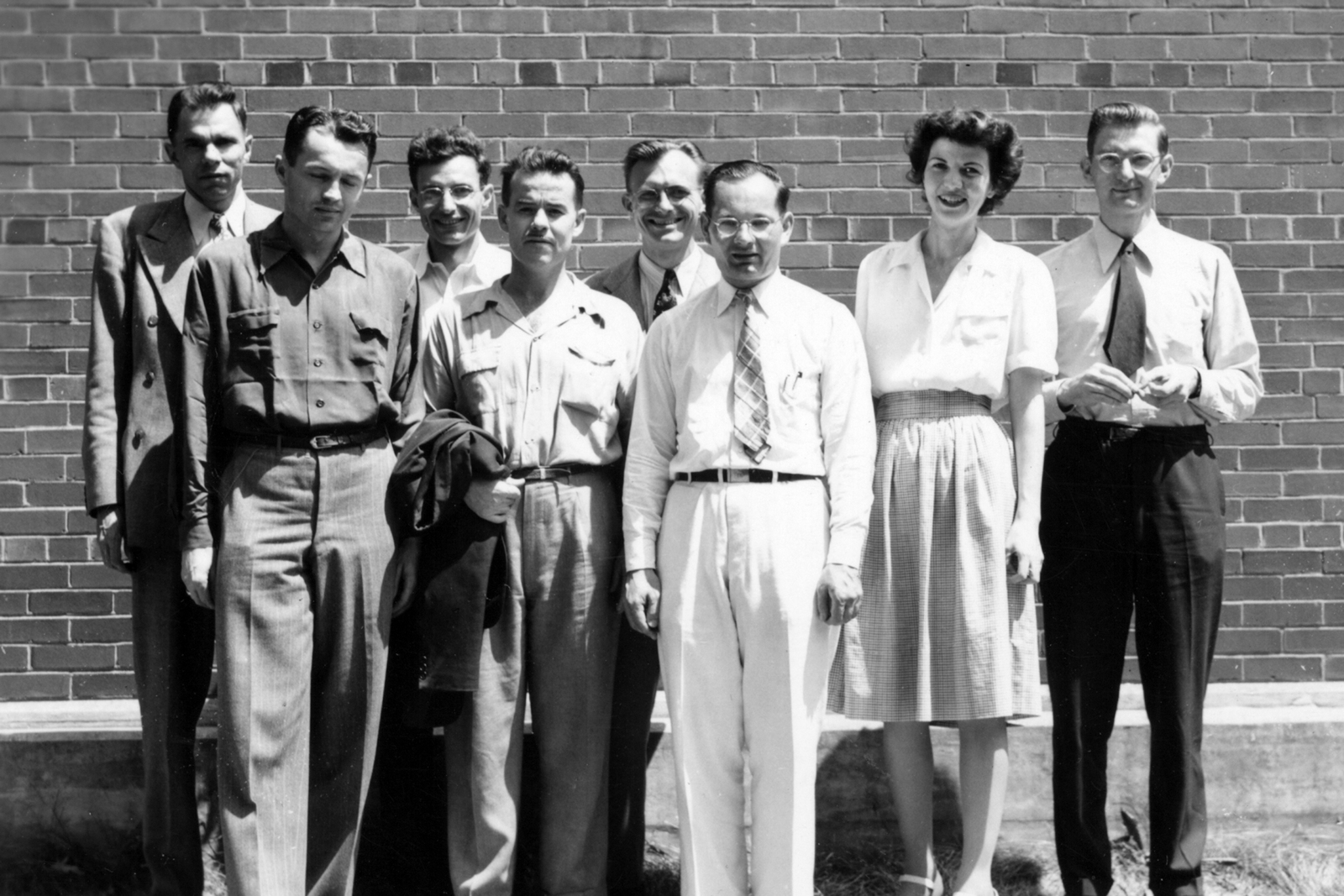 UCLA group in Chicago, Illinois. Glenn Seaborg (far left), taken July 25, 1944. Principal Investigator/Project: Analog Conversion Project