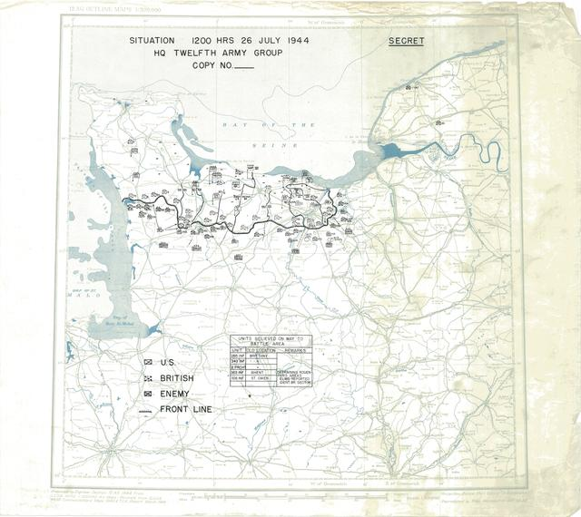 Situation Map for 2400 Hrs 26 July 1944
