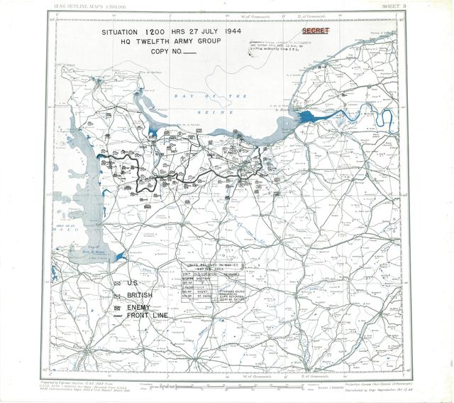 Situation Map for 2400 Hrs 27 July 1944