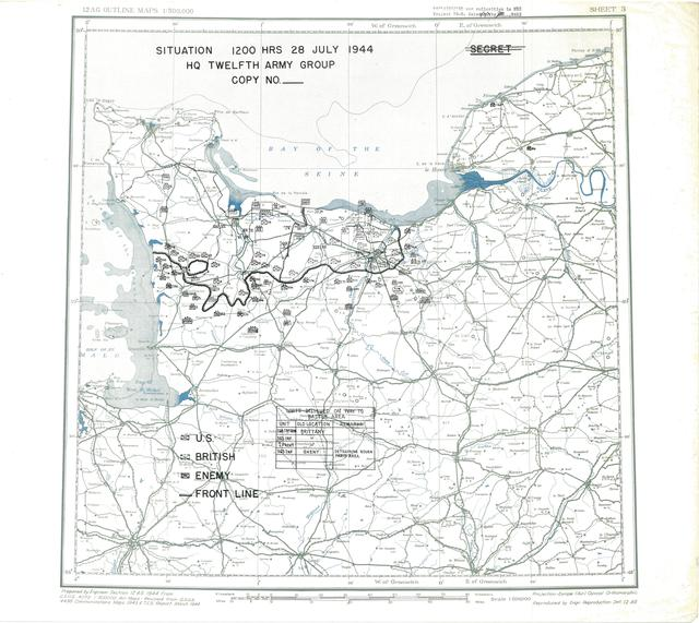 Situation Map for 2400 Hrs 28 July 1944