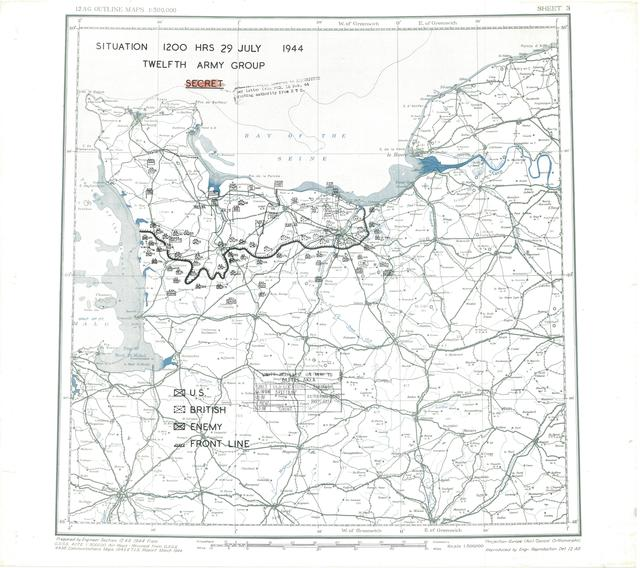 Situation Map for 2400 Hrs 29 July 1944