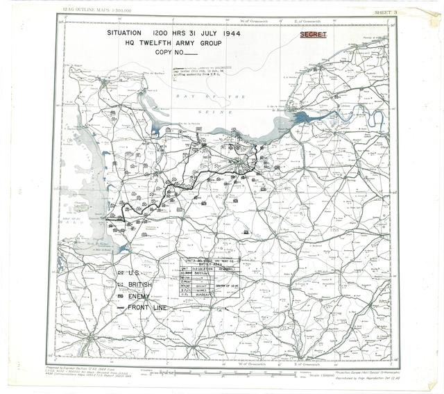 Situation Map for 2400 Hrs 31 July 1944