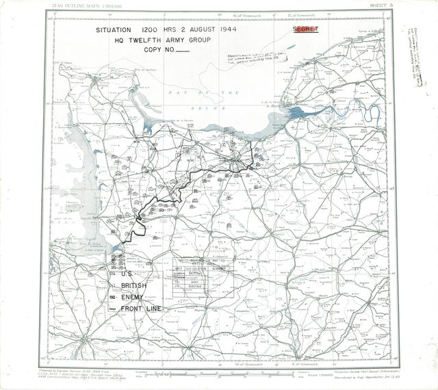 Situation Map for 1200 Hrs 2 August 1944