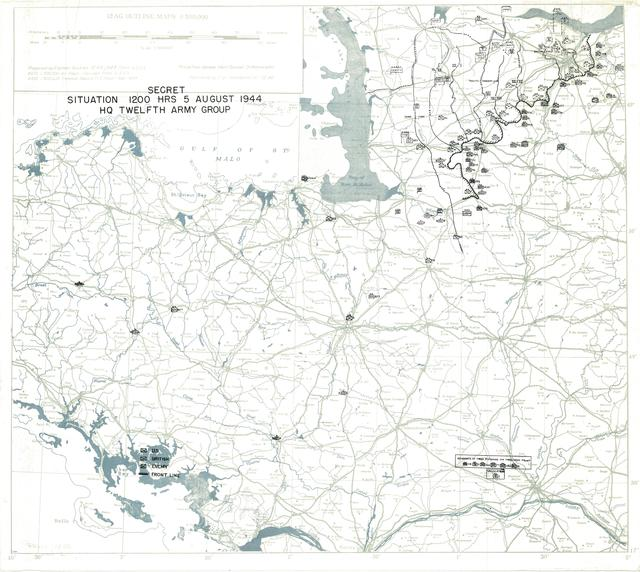 Situation Map for 1200 Hrs 5 August 1944