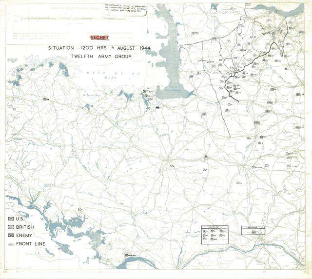 Situation Map for 1200 Hrs 9 August 1944