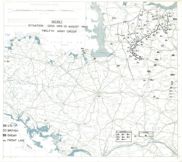 Situation Map for 1200 Hrs 10 August 1944