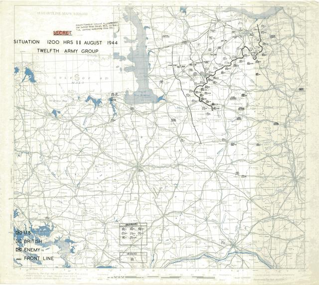 Situation Map for 1200 Hrs 11 August 1944