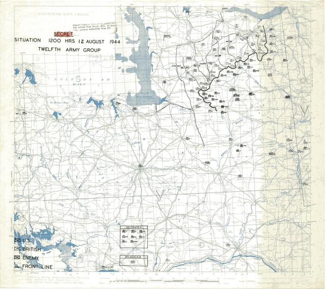 Situation Map for 1200 Hrs 12 August 1944