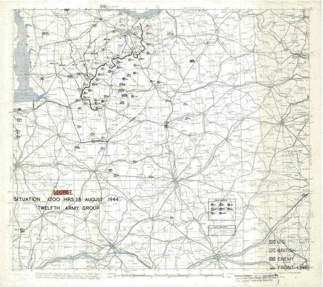 Situation Map for 1200 Hrs 13 August 1944