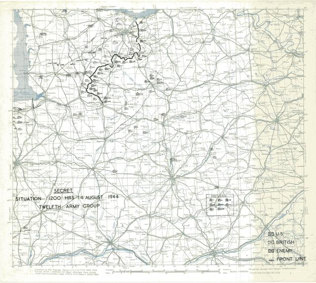 Situation Map for 1200 Hrs 14 August 1944