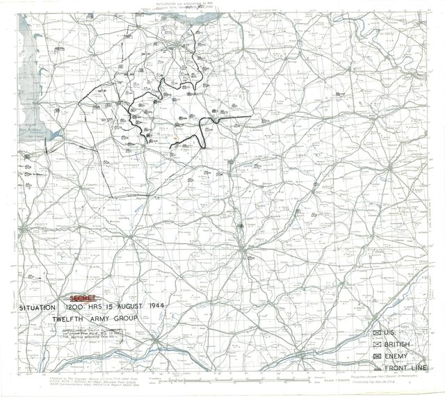 Situation Map for 1200 Hrs 15 August 1944
