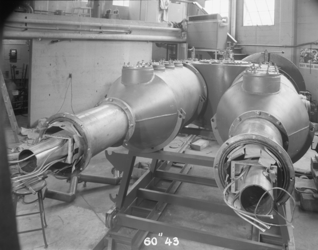 "D (dee) stems after cleanup, 60-inch cyclotron. Photo taken 8/16/1944. 60""-43 Principal Investigator/Project: Crocker Lab/60-inch"
