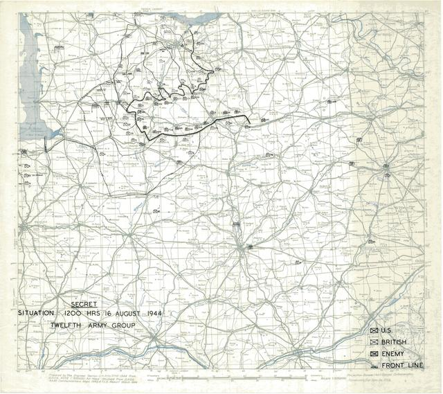 Situation Map for 1200 Hrs 16 August 1944