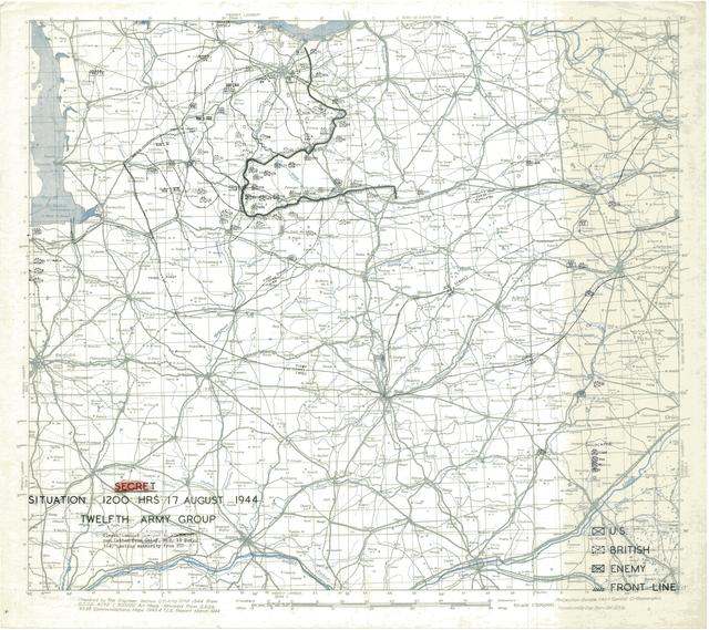 Situation Map for 1200 Hrs 17 August 1944