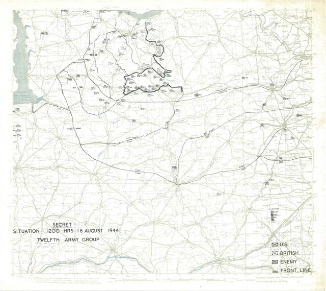 Situation Map for 1200 Hrs 18 August 1944